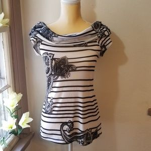 Black and white striped paisley blouse M